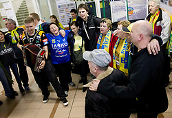 Sebastian Skube of Celje celebrates with his fans after winning the  handball match between RK Celje Pivovarna Lasko and RK Gorenje Velenje in final of Slovenian Cup 2013, on March 3, 2013 in Arena Tri Lilije, Lasko, Slovenia. Celje PL defeated Gorenje Velenje 28-24 and became Slovenian Cup Champion 2013. (Photo By Vid Ponikvar / Sportida)
