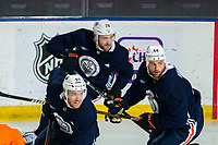 KELOWNA, BC - SEPTEMBER 22:  Connor McDavid #97, Leon Draisaitl #29 and Zack Kassian #44 of the Edmonton Oilers skate during practice at Prospera Place on September 22, 2019 in Kelowna, Canada. (Photo by Marissa Baecker/Shoot the Breeze)