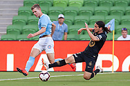 MELBOURNE, VIC - JANUARY 22: Western Sydney Wanderers defender Raul Llorente (24) competes with Melbourne City midfielder Riley McGree (8) at the Hyundai A-League Round 15 soccer match between Melbourne City FC and Western Sydney Wanderers at AAMI Park in VIC, Australia 22 January 2019. Image by (Speed Media/Icon Sportswire)