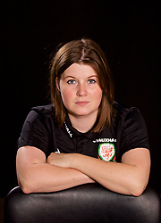 NEWPORT, WALES - Tuesday, August 28, 2018: Holly Williams poses for a portrait during a media session at the Coldra Court Hotel ahead of the final FIFA Women's World Cup 2019 Qualifying Round Group 1 match against England. (Pic by David Rawcliffe/Propaganda)