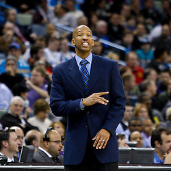 February 1, 2011; New Orleans, LA, USA; New Orleans Hornets head coach Monty Williams against the Washington Wizards during the third quarter at the New Orleans Arena. The Hornets defeated the Wizards 97-89.  Mandatory Credit: Derick E. Hingle