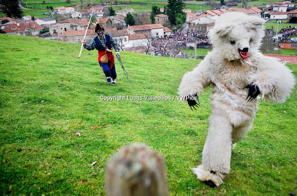 `La Vijanera´carnival, Bear hunting, Silio, Molledo. Cantabria, Spain.