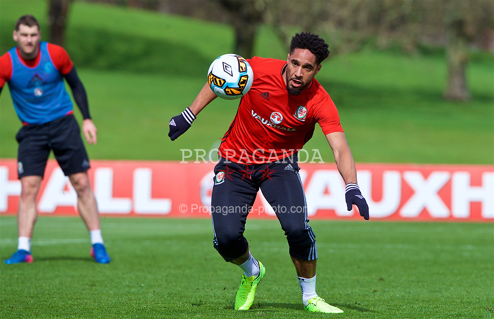 CARDIFF, WALES - Wednesday, March 22, 2017: Wales' captain Ashley Williams during a training session at the Vale Resort ahead of the 2018 FIFA World Cup Qualifying Group D match against Republic of Ireland. (Pic by David Rawcliffe/Propaganda)