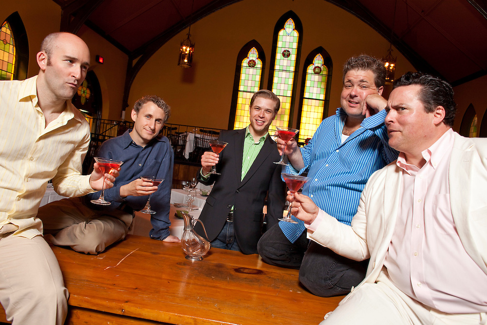 Stratford, Ontario ---10-07-14--- From left, Jonathan Monro, Michael Therriault, Kyle Golemba, Bruce Dow, and Sean Cullen  will perform in the Stratford Summer Music Cabaret Series at The Church Restaurant in Stratford, Ontario this summer.<br /> GEOFF ROBINS Toronto Star
