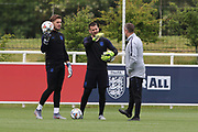England goalkeepers Jack Butland and Tom Heaton during the training session for England at St George's Park National Football Centre, Burton-Upon-Trent, United Kingdom on 28 May 2019.
