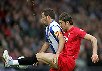 Photo: Paul Thomas.<br /> Espanyol v Sevilla. UEFA Cup Final. 16/05/2007.<br /> <br /> Raul Tamudo (L) battles with Ivica Dragutinovic of Sevilla.