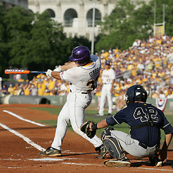 09 June 2008:  Micah Gibbs #33 sends a solo homerun to left field in the first inning, the second of three consecutive homeruns for the Tigers in the first inning of play against UC Irvine. The LSU Tigers advanced to the College World Series with a 21-7 victory over the UC Irvine Anteaters in game three of the NCAA Baseball Baton Rouge Super Regional Alex Box Stadium in Baton Rouge, LA..