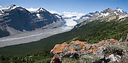 Hike to see Saskatchewan Glacier from Parker Ridge viewpoint, in Banff National Park, Alberta, Canada. Banff is part of the Canadian Rocky Mountain Parks World Heritage Site declared by UNESCO in 1984. Panorama stitched from 2 images.
