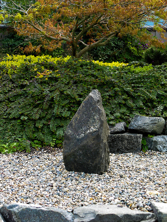 A single rock in a garden of pebbles.