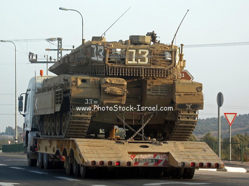 Israel, Merkava mark 3 tank transported on a semitrailer