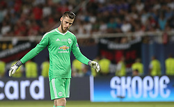 August 8, 2017 - Skopje, Macedonia - David De Gea of Manchester United in action during the UEFA Super Cup match between Real Madrid and Manchester United at National Arena Filip II Macedonian on August 8, 2017 in Skopje, Macedonia. (Credit Image: © Raddad Jebarah/NurPhoto via ZUMA Press)
