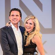 NLD/Amsterdam/20130205 - Modeshow Nikki Plessen 2013, Nikkie Plessen en partner Ruben Bontekoe