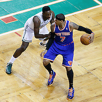 26 April 2013: Boston Celtics power forward Jeff Green (8) defends on New York Knicks small forward Carmelo Anthony (7) during Game Three of the Eastern Conference Quarterfinals of the 2013 NBA Playoffs at the TD Garden, Boston, Massachusetts, USA.
