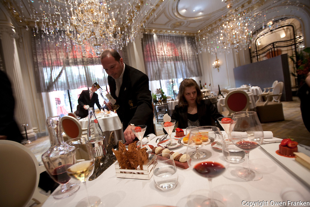 luncheon service at Restaurant Alain Ducasse, Hotel Plaza Athenee, Paris...Photograph by Owen Franken