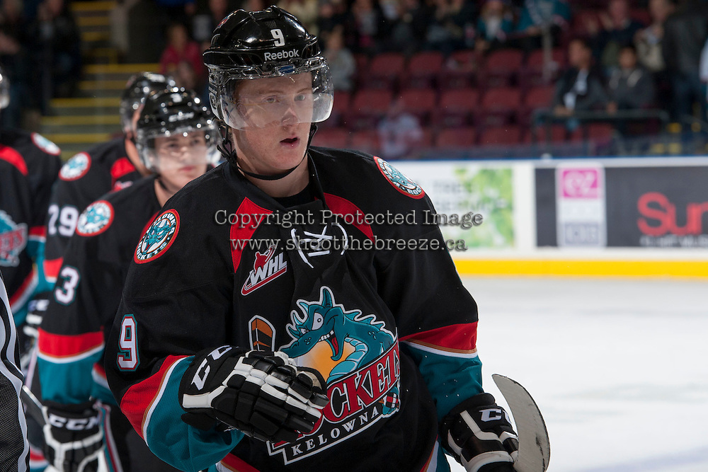 KELOWNA, CANADA - SEPTEMBER 28:  Zach Franko #9 of the Kelowna Rockets celebrates a goal against the Victoria Royals at the Kelowna Rockets on September 28, 2013 at Prospera Place in Kelowna, British Columbia, Canada (Photo by Marissa Baecker/Shoot the Breeze) *** Local Caption ***
