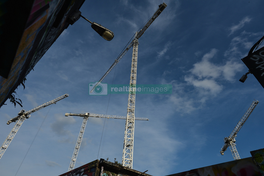 March 27, 2019 - Dublin, Ireland - A view of construction cranes in Dublin city center..The Irish economy experienced strong growth in 2018, with real GNP increasing by nearly 6%. .The prediction for 2019 could see a further growth of 3.9%. For the first time in twelve years, a small surplus of €0.1 billion was recorded by the Exchequer..On Wednesday, March 27, 2019, in Dublin, Ireland. (Credit Image: © Artur Widak/NurPhoto via ZUMA Press)