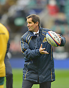 Twickenham, GREAT BRITAIN,   Australian, Head coach, Robbie DEANS,  during, the pre game training/warm up.  England vs Australia, Rugby match.  QBE. Autumn International Test Series.  RFU.Twickenham Stadium, Surrey.     Saturday,  17/11/2012.  ..[Mandatory Credit; Peter Spurrier/Intersport-images]