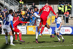 Ellis Harrison of Bristol Rovers is challenged by Lloyd Jones of Swindon Town - Rogan Thomson/JMP - 28/01/2017 - FOOTBALL - Memorial Stadium - Bristol, England - Bristol Rovers v Swindon Town - Sky Bet League One.