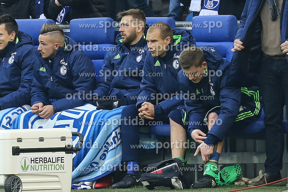 21.01.2017, Veltins Arena, Gelsenkirchen, GER, 1. FBL, Schalke 04 vs FC Ingolstadt 04, 17. Runde, im Bild Holger Badstuber (#24, FC Schalke 04) auf der Ersatzbank (2. v.l.) // during the German Bundesliga 17th round match between Schalke 04 and FC Ingolstadt 04 at the Veltins Arena in Gelsenkirchen, Germany on 2017/01/21. EXPA Pictures &copy; 2017, PhotoCredit: EXPA/ Eibner-Pressefoto/ Deutzmann<br /> <br /> *****ATTENTION - OUT of GER*****