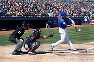 March 18, 2018 - Las Vegas, NV, U.S. - LAS VEGAS, NV - MARCH 18: Addison Russell (27) of the Cubs swings during a game between the Chicago Cubs and Cleveland Indians as part of Big League Weekend on March 18, 2018 at Cashman Field in Las Vegas, Nevada. (Photo by Jeff Speer/Icon Sportswire) (Credit Image: © Jeff Speer/Icon SMI via ZUMA Press)