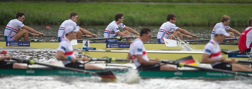 Amsterdam. NETHERLANDS.  GBR M8+.Bow. Nathaniel REILLY-O'DONNELL, Matthew TARRANT, Will SATCH, Matthew GOTREL, Pete REED, Paul BENNETT, Tom RANSLEY, Constantine LOULOUDIS and cox Phelan HILL. Gold Medalist, Men's Eight. De Bosbaan Rowing Course, venue for the 2014 FISA  World Rowing. Championships. 14:41:10  Sunday  31/08/2014.  [Mandatory Credit; Peter Spurrier/Intersport-images]