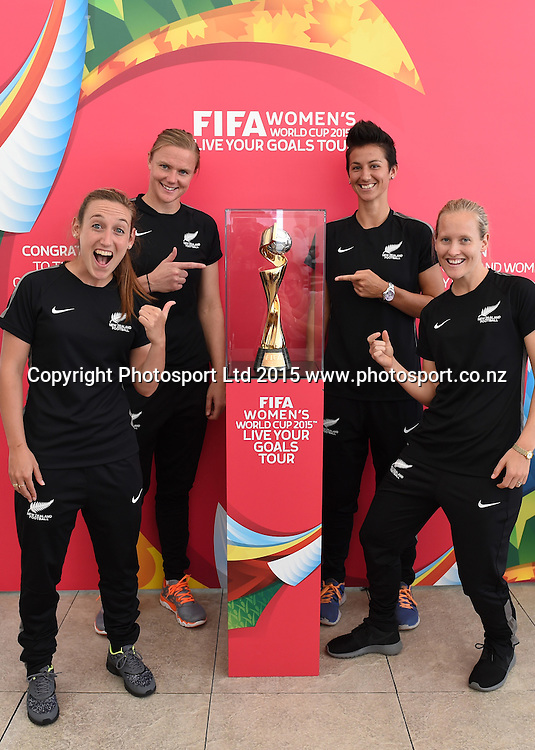L_R, Annalie Longo, Cushla Lichtwark, Abby Erceg and Katie Hoyle. FIFA Women's World Cup 2015. Live Your Goals Tour. Auckland. New Zealand. Wednesday 11 February 2015. Copyright Photo: Andrew Cornaga / www.photosport.co.nz