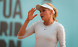 May 8, 2019 - Madrid, MADRID, SPAIN - Donna Vekic of Croatia in action during her third-round match at the 2019 Mutua Madrid Open WTA Premier Mandatory tennis tournament (Credit Image: © AFP7 via ZUMA Wire)