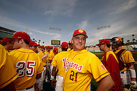13 March 2011: NCAA Pac-10 college UCLA-USC sports rivalry baseball teams met in a non-conference game at Dodger Stadium as part of the Dodgertown Classic.  USC Trojans defeated the UCLA Bruins 2-0 during an afternoon weekend game inside the MLB stadium.  #21 Assistant Coach Doyle Wilson.
