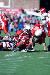 28 October 2006: Jarek Thomas holds down Marcus Mason. Youngstown State turned off over 15,000 fans as the win blew their way, cooling off Illinois State 27-13. Nationally ranked teams Youngstown State Penguins and Illinois State Redbirds competed at Hancock Stadium on the campus of Illinois State University in Normal Illinois.<br />