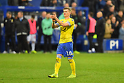 Ezgjan Alioski (10) of Leeds United applauds the travelling fans at full time after a 2-1 loss to QPR during the The FA Cup 3rd round match between Queens Park Rangers and Leeds United at the Loftus Road Stadium, London, England on 6 January 2019.