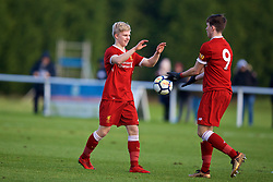 BLACKBURN, ENGLAND - Saturday, January 6, 2018: Liverpool's Edvard Sandvik Tagseth celebrates scoring the second goal during an Under-18 FA Premier League match between Blackburn Rovers FC and Liverpool FC at Brockhall Village Training Ground. (Pic by David Rawcliffe/Propaganda)