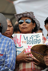 61029763<br /> A Thai farmer holds a banner during a Rally at the compound of Thailand's Commerce Ministry in Nonthaburi province, on the outskirts of Bangkok, Thailand, Feb. 7, 2014. Thai rice farmers who have gathered in protest of a delay in payments for their latest crop under the government s rice-pledging program on Friday drew a deadline for the government to pay before Feb. 15. 2014, Date Taken Friday, 7th February 2014. Picture by  imago / i-Images<br /> UK ONLY