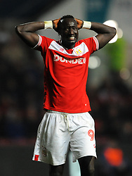 Famara Diedhiou of Bristol City shows a look of dejection- Mandatory by-line: Nizaam Jones/JMP - 09/04/2019 - FOOTBALL - Ashton Gate Stadium - Bristol, England - Bristol City v West Bromwich Albion - Sky Bet Championship