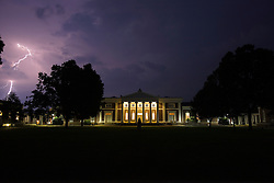 A lightning storm passed over Old Cabell Hall on the Grounds of the University of Virginia in Charlottesville, VA on June 10, 2008
