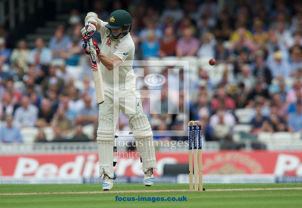 Chris Rogers of Australia nicks the ball off a delivery by Mark Wood of England and is caught behind by Captain Alastair Cook during the 5th Investec Ashes Test Match match at the Kia Oval, London<br /> Picture by Alan Stanford/Focus Images Ltd +44 7915 056117<br /> 20/08/2015