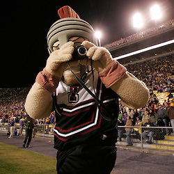 15 November 2008: The Troy Trojan mascot takes snapshots with a camera during the first half of the NCAA football game between the Troy Trojans and the LSU Tigers at Tiger Stadium in Baton Rouge, LA.