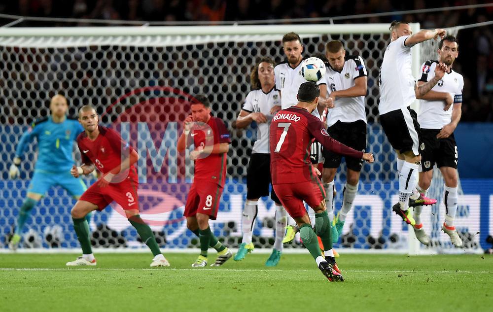 Cristiano Ronaldo of Portugal fires his free kick over  - Mandatory by-line: Joe Meredith/JMP - 18/06/2016 - FOOTBALL - Parc des Princes - Paris, France - Portugal v Austria - UEFA European Championship Group F