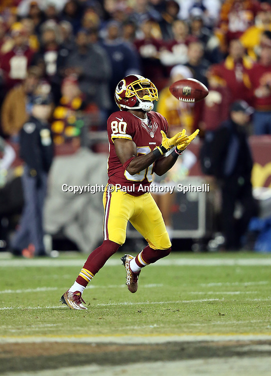 Washington Redskins wide receiver Jamison Crowder (80) catches a pass during the 2015 week 13 regular season NFL football game against the Dallas Cowboys on Monday, Dec. 7, 2015 in Landover, Md. The Cowboys won the game 19-16. (©Paul Anthony Spinelli)