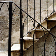 Steps in a narrow alleyway of Venice near Piazza San Marco. Venice, Italy. 1st May 2011. Photo Tim Clayton