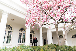 March 25, 2019 - Washington, District of Columbia, U.S. - President DONALD TRUMP walks with Israeli Prime Minister BENJAMIN NETANYAHU at the White House. (Credit Image: ? White House/ZUMA Wire/ZUMAPRESS.com)