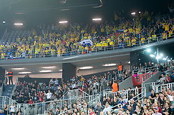Fans of RK Celje Pivovarna Lasko during EHF Champions eague 2016/17 handball match between HC Prvo Plinarsko Drustvo Zagreb and RK Celje Pivovarna Lasko, on March 9th, 2017 in Arena Zagreb, Croatia. Photo by Martin Metelko / Sportida