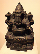 black polished granite sculpture of the Hindu god Ganesha; Dravidian