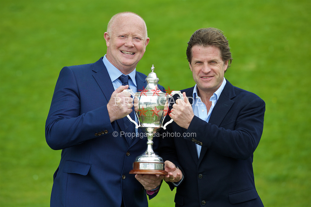 LIVERPOOL, ENGLAND - Monday, April 18, 2016: Former England and Liverpool captain and Tennis Ambassador Mark Wright with  Tournament Director Anders Borg with the Boodles Trophy at the launch of the 2016 Liverpool Hope University International Tennis Tournament at the Hilton Hotel. (Pic by David Rawcliffe/Propaganda)