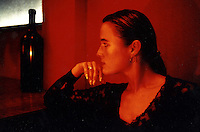 German woman in an restaurant