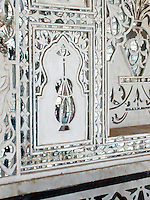 Mirrored inlays in the Jai Mandir, or Sheesh Mahal, of the Amber Palace, Amer, Rajasthan.