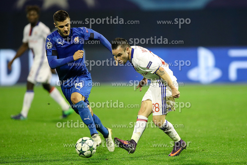 Amer Gojak of GNK Dinamo Zagreb vs Mathieu Valbuena of Lyon during football match between GNK Dinamo Zagreb and Olympique Lyonnais in Group H of Group Stage of UEFA Champions League 2016/17, on November 22, 2016 in Stadium Maksimir, Zagreb, Croatia. Photo by Morgan Kristan / Sportida