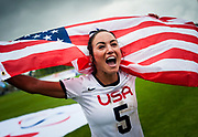 USA Kelly Rabil celebrates winning the wWorld Cup after defeating Canada 10 -5 2017 FIL Rathbones Women's Lacrosse World Cup, at Surrey Sports Park, Guildford, Surrey, UK, 22nd July 2017.