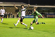 Forest Green Rovers Elliott Frear(11) shoots at goal during the Friendly match between Weston Super Mare and Forest Green Rovers at the Woodspring Stadium, Weston Super Mare, United Kingdom on 11 October 2016. Photo by Shane Healey.