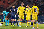 Sergey Maliy (#2) of Kazakhstan looking a little bemused after conceding a freekick in a dangerous place during the UEFA European 2020 Qualifier match between Scotland and Kazakhstan at Hampden Park, Glasgow, United Kingdom on 19 November 2019.