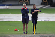 Lancashires Coach Glen Chapel watches spinner Lancashires Stephen Parry during the media day for Lancashire Thunder at the Emirates, Old Trafford, Manchester, United Kingdom on 17 July 2018. Picture by George Franks.